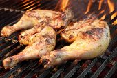 picture of barbecue grill  - Grilled Chicken Legs On The Hot Flaming Barbecue Grill - JPG
