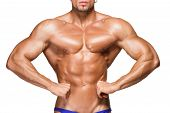 picture of body builder  - torso of attractive male body builder isolated on white background - JPG