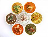 stock photo of indian food  - Assortment of indian dishes - JPG