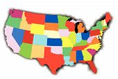 pic of united states map  - An outline map of The United States of America in patchwork style over a white background - JPG
