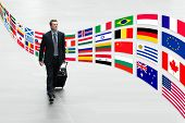picture of trolley  - Businessman Traveling With Trolley International Flags Trip Concept - JPG