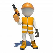 stock photo of hand drill  - White man in special clothes with drill in hand - JPG