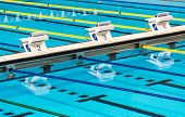 picture of competition  - Beautiful Olympic sport competition swimming pool lanes in a clear transparent blue water facility - JPG
