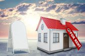 foto of gable-roof  - White house with label for rent - JPG