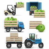 image of tractor trailer  - Agricultural Icons including green apples - JPG