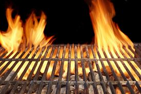 stock photo of braai  - Flame Fire Empty Barbecue Grill Background Copy Space - JPG