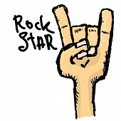 Постер, плакат: vector doodle hand sign rock n roll music