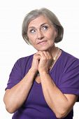 picture of beautiful senior woman  - Portrait of a beautiful senior woman on a white background - JPG