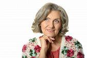 stock photo of beautiful senior woman  - Beautiful Senior woman on a white background - JPG