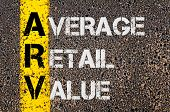 foto of average looking  - Concept image of Business Acronym ARV as Average Retail Value written over road marking yellow paint line - JPG