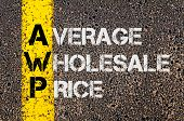 stock photo of average looking  - Concept image of Business Acronym AWP as Average Wholesale Price written over road marking yellow paint line - JPG