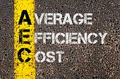 image of average looking  - Concept image of Business Acronym AEC as Average Efficiency Cost written over road marking yellow paint line - JPG