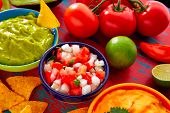 picture of nachos  - Mexican food nachos guacamole pico de gallo and dipping cheddar cheese - JPG