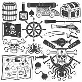 picture of pirates  - Bundle objects for design pirate logo - JPG