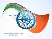 pic of indian independence day  - Shiny 3D Ashoka Wheel on national flag color waves for Indian Independence Day celebration - JPG