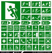 Set of safety signs. Exit signs. Set of emergency exit signs. Collection of warning signs. Vector il poster