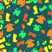 stock photo of rain  - Vector pattern with rain gum boots - JPG