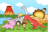 picture of dinosaurus  - Cartoon dinosaur world of imagination with kids and children playing and feeding Tyrannosaur Stegosaurus Triceratops and Brontosaurus walking friendly in natural prehistoric world create by vector - JPG