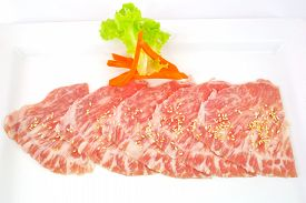 pic of wagyu  - High grade sliced Hida wagyu beef isolated on white background - JPG