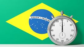 pic of chronometer  - Flag of Brazilian with chronometer - JPG
