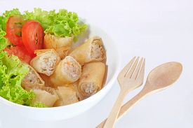 foto of lumpia  - Thai Spring Roll and salad on white background - JPG