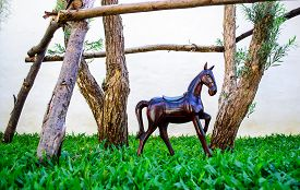 picture of  midget elves  - Miniature horse statue used for garden decor - JPG