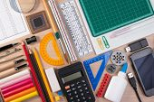Desk With School Stationary Or Office Tools. Flatlay Set Of Artist School Stationery Studio Shot On poster