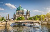 Berlin Cathedral With Ship On Spree River At Sunset, Berlin, Germany poster