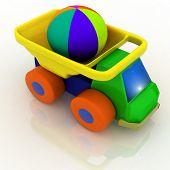 Постер, плакат: автомобиль игрушки с мячом в спину