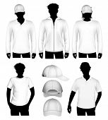 foto of hooded sweatshirt  - Set of vector clothes design template with human body silhouette - JPG