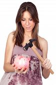 image of piggy_bank  - Beautiful girl with piggy - JPG
