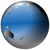 World Globe:pacific, With Blue-shaded Oceans