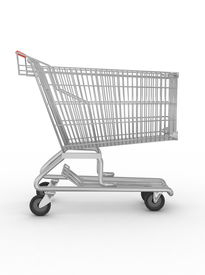 stock photo of grocery cart  - Empty shopping cart isolated on white background - JPG