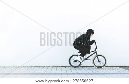 Bmx Rider In Casual Clothing