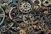 Steampunk Texture, Backgroung With Mechanical Parts, Gear Wheels, Steam Punk Cogwheels, Heap Of Auto poster