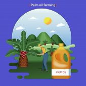 Flat Farm Landscape Illustration Of Palm Oil Farming. Rural Landscape With Palm Hills And Palm Plant poster