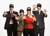 pic of blindfolded man  - Business people in blindfolds - JPG