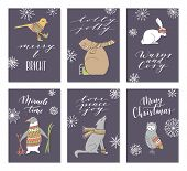 Vector Hand Drawn Cute Forest Animals Collection. Stylish And Elegant Cartoon Animals Cards. Cute An poster