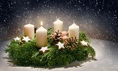 Advent Wreath From Evergreen Branches With White Candles, The First Is Burning For The Time Before C poster