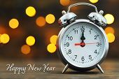 Happy New Year. Midnight Clock And Blurred Lights In Background poster