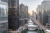 Riverside Chicago Skylines At Sunset poster