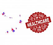 Healthcare Collage Of Bright Medical Mosaic Map Of Cape Verde Islands And Scratched Seal. Vector Red poster