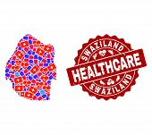 Healthcare Composition Of Bright Medical Mosaic Map Of Swaziland And Scratched Stamp. Vector Red Sea poster