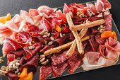Antipasto Platter Cold Meat With Grissini Bread Sticks, Prosciutto, Slices Ham, Beef Jerky, Salami,  poster