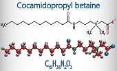 Cocamidopropyl Betaine (capb) Molecule. It Is Used In Shampoo, In Cosmetics, As Antistatic In Hair C poster