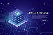 Artificial Intelligence Icon Ai, Isometric Cloud Computing Concept, Data Mining, Isometric, Neural N poster