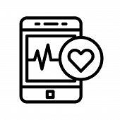 Smartphone With Vital Signs Check Function, Line Icon. poster