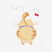 Cute Cartoon Ginger Cat Playing With Butterfly Trying To Catch It Clip Art poster