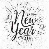 Vintage Letter Happy New Year 2019 With Grunge Vector Effect. Black And White Letter Vector Happy Ne poster