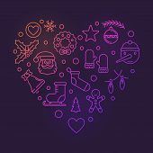 Colorful Heart Of Xmas And New Year Outline Icons. Vector Merry Christmas Bright Illustration In Out poster